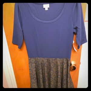 LuLaRoe Nicole blue and green patterned dress